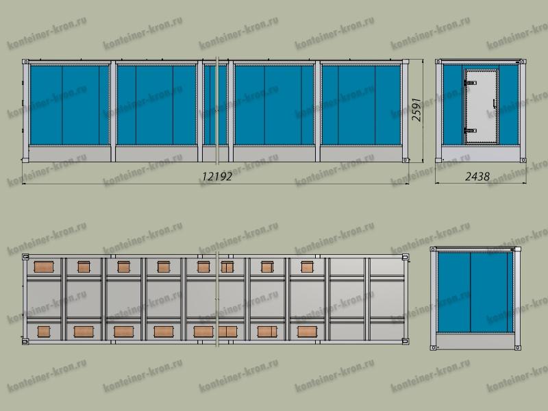 Чертеж 12-ти метрового кузов-контейнера с фальш-полом