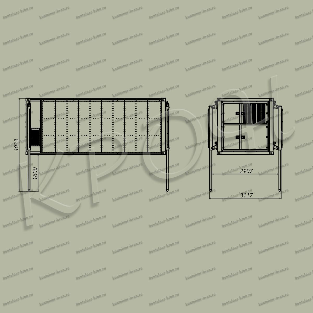 Чертеж раскладного кузов-контейнера в поднятом положении