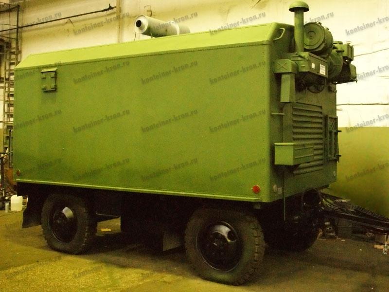 Кузов-контейнер на двухосном прицепе-шасси