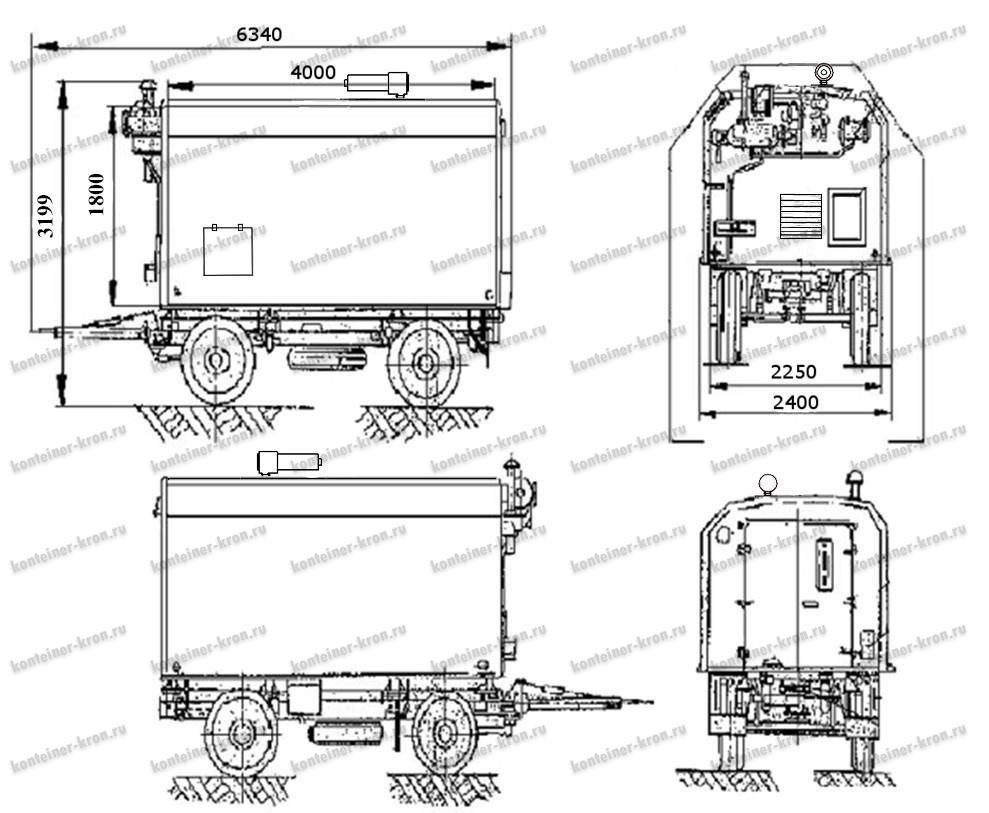 Габаритный чертёж электроагрегата ЭД200-Т400-1РК