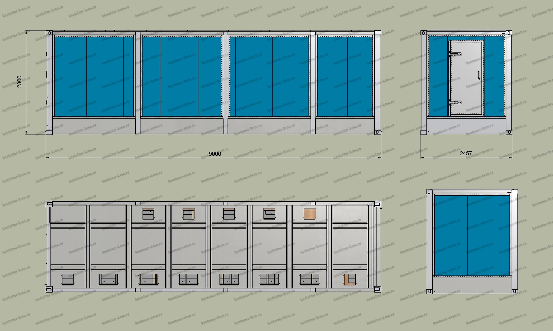 Чертеж 9-ти метрового кузов-контейнера с фальш-полом
