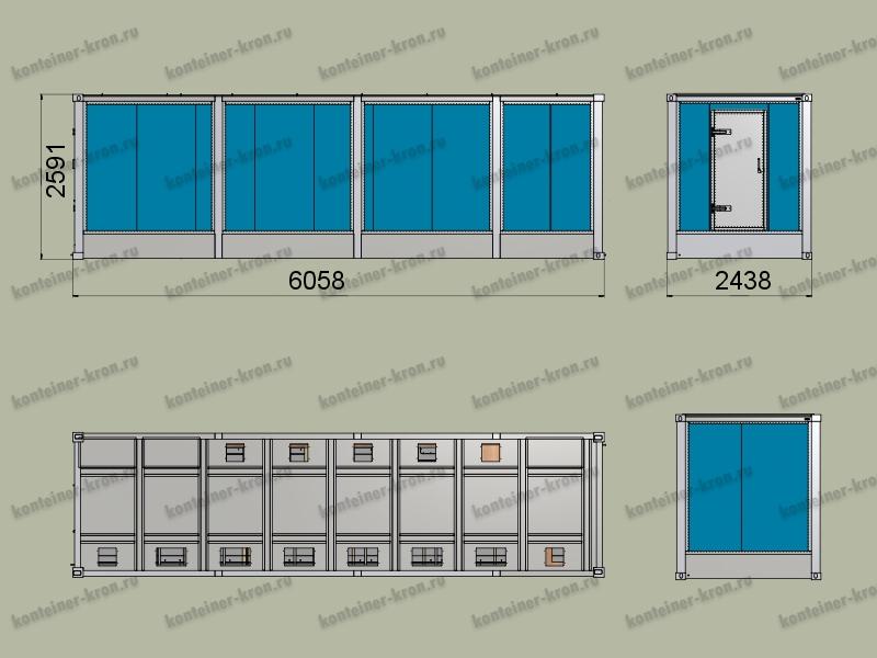 Чертеж 6-ти метрового кузов-контейнера с фальш-полом
