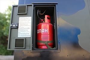 Фото отсека для размещения газового баллона ПОЖ