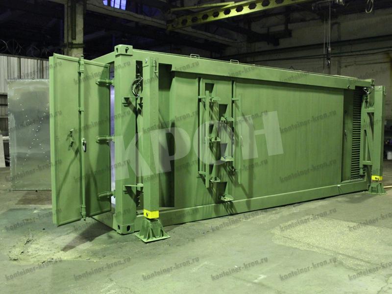 Контейнер рефрижератор вид сбоку с открытыми дверьми