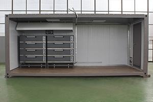 Фотография модульной кухни в металлическом контейнере