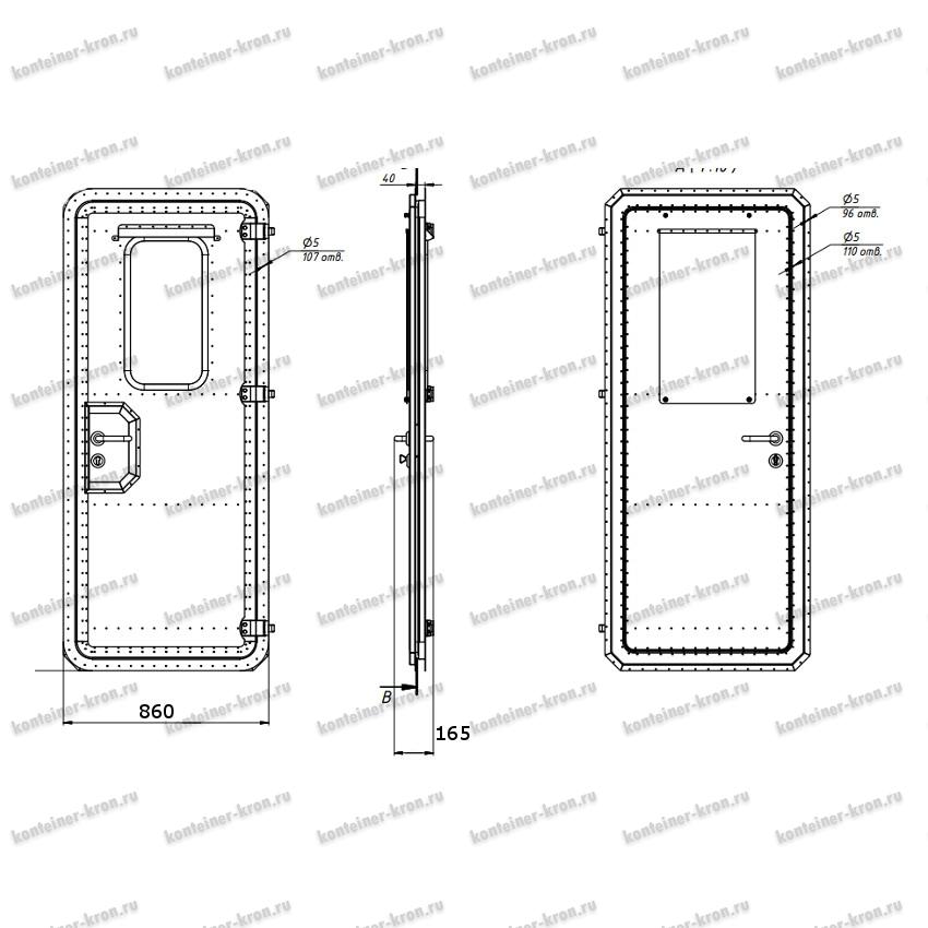 Чертеж металлической двери серии КРОН-МД
