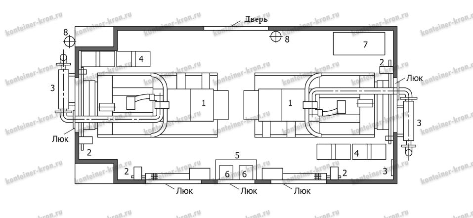Чертеж оснащения блок-контейнеров для генераторов