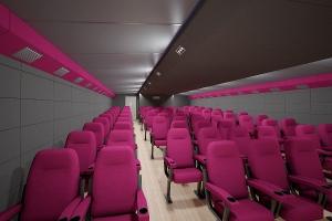 Внутренний вид мобильного передвижного кинотеатра ПМК-67