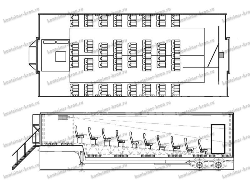 Внутренняя схема мобильного передвижного кинотеатра ПМК-67