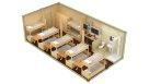 Жилой блок-контейнер с санузлом, душем и кухней - 12 человек